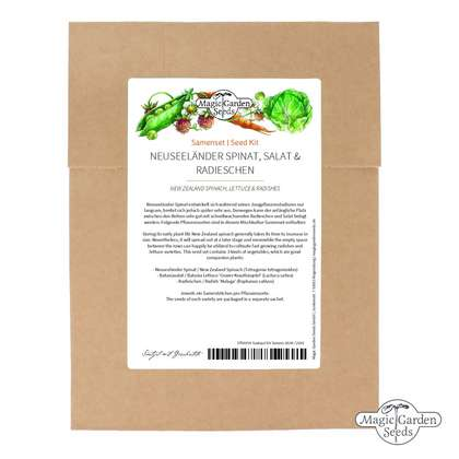 New Zealand Spinach, Lettuce & Radishes - Seed kit